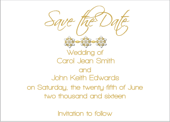 Gold Jewels II Save the Date Card
