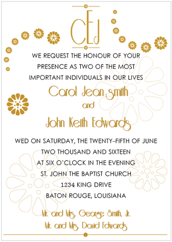 Gold Monogram Invitation