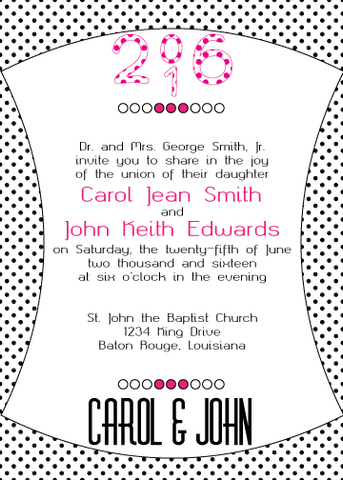 Magenta Polka Dot Invitation