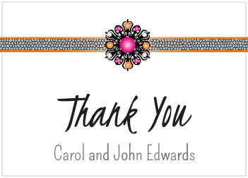 Magenta Jewels Thank You Card