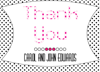 Magenta Polka Dot Thank You Card