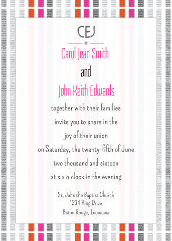 Magenta and Orange Striped Invitation