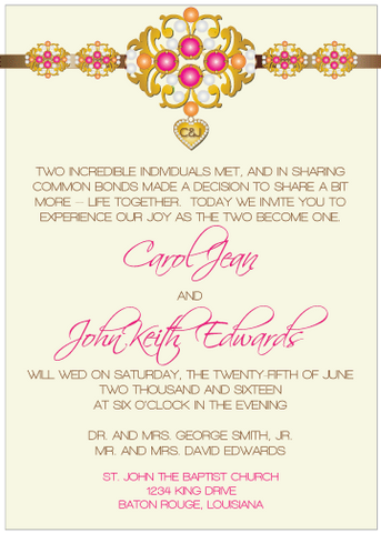 Magenta Jewels III Invitation