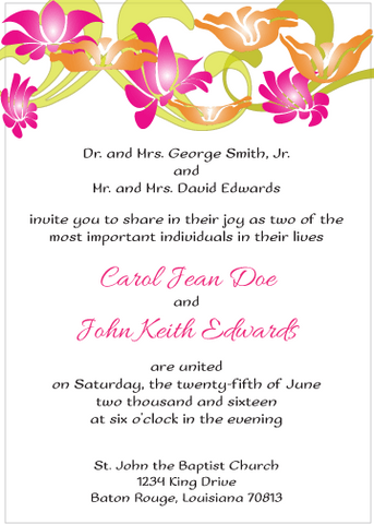 Magenta and Orange Flowers Invitation