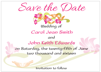 Magenta and Orange Flowers Save the Date Card