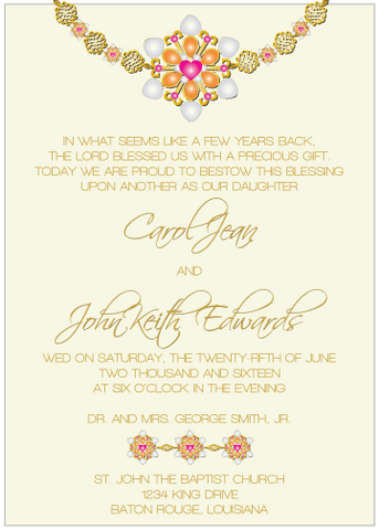 Magenta and Orange Jewels II Invitation