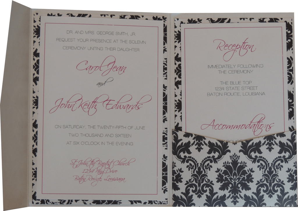 Black Brocade Pocket Invitation - Magenta