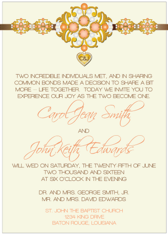 Peach Jewels III Invitation
