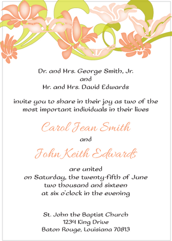 Peach Flowers Invitation