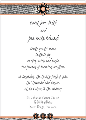 Peach Jewels Invitation