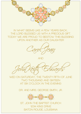Peach Jewels II Invitation