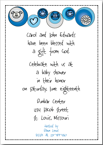 Petite Prints - Blue Baby Shower Invitation