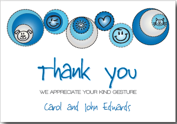 Petite Prints - Blue Thank You Card