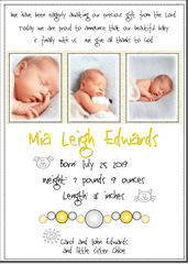 Petite Prints - Yellow Baby Announcement
