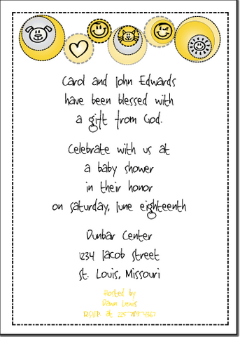 Petite Prints - Yellow Baby Shower Invitation