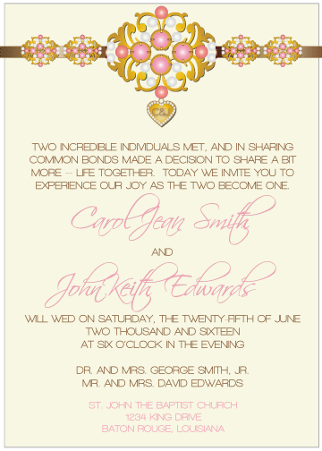 Pink Jewels III Invitation