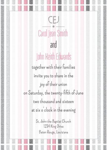 Pink Striped Invitation