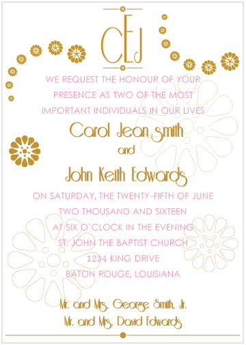 Pink and Gold Monogram Invitation