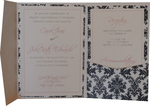 Black Brocade Pocket Invitation - Pink