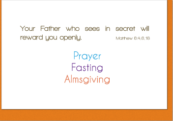 Prayer, Fasting, Almsgiving Note Card