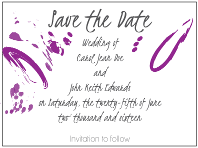 Contemporary Purple Save the Date Card