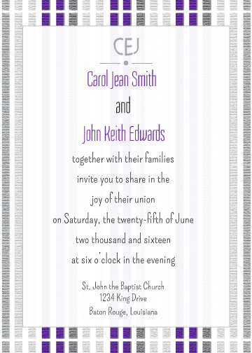 Purple Striped Invitation
