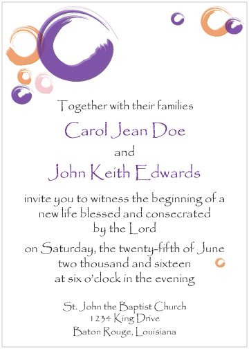 Purple and Peach Circles Invitation