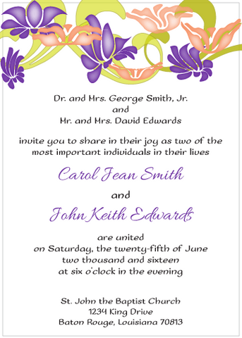 Purple and Peach Flowers Invitation