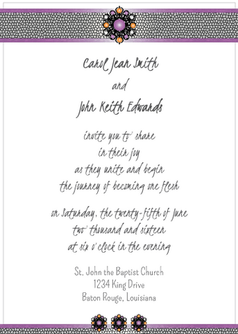 Purple and Peach Jewels Invitation