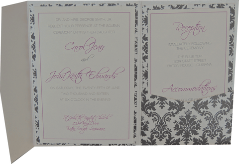 Black Brocade Pocket Invitation - Purple