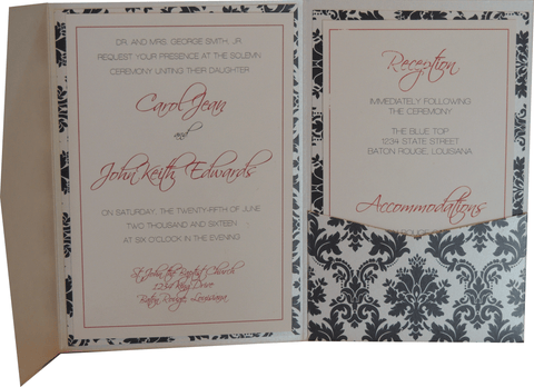 Black Brocade Pocket Invitation - Red