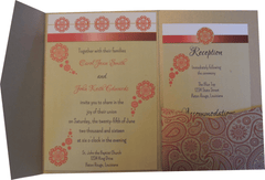 Red Paisley Metallic Gold Leaf Pocket Invitation
