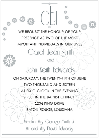 Silver and Black Monogram Invitation