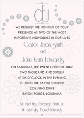 Silver and Black on Pink Monogram Invitation