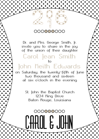 Tan Polka Dot Invitation