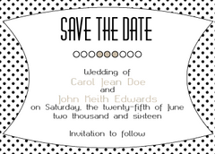 Tan Polka Dot Save the Date Card