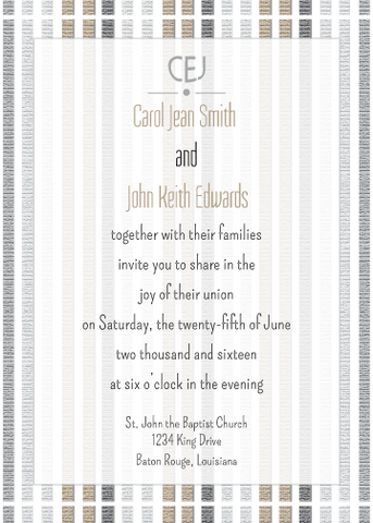 Tan and Black Striped Invitation