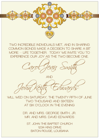 Tan and Black Jewels III Invitation