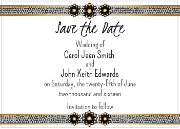 Tan and Black Jewels Save the Date Card