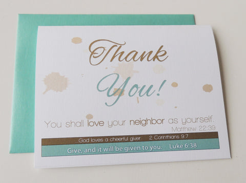 Thank You Card - Aqua or Red