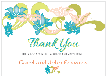 Blue and Peach Flowers Thank You Card