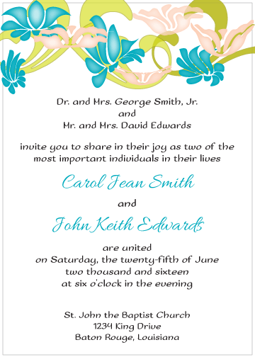 Blue and Peach Flowers Invitation