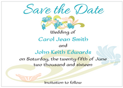 Blue and Peach Flowers Save the Date Card