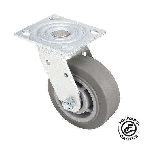 "5"" Gray Rubber Swivel Caster"