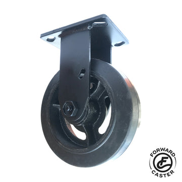 "6"" All-Black Vintage Rubber on Iron Rigid Caster"