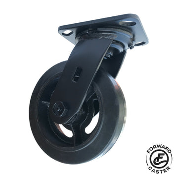 "6"" All-Black Vintage Rubber on Iron Swivel Caster"