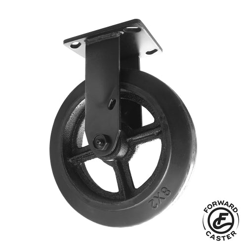 "8"" All-Black Vintage Rubber on Iron Rigid Caster"