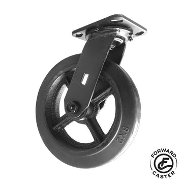 "8"" All-Black Vintage Rubber on Iron Swivel Caster"