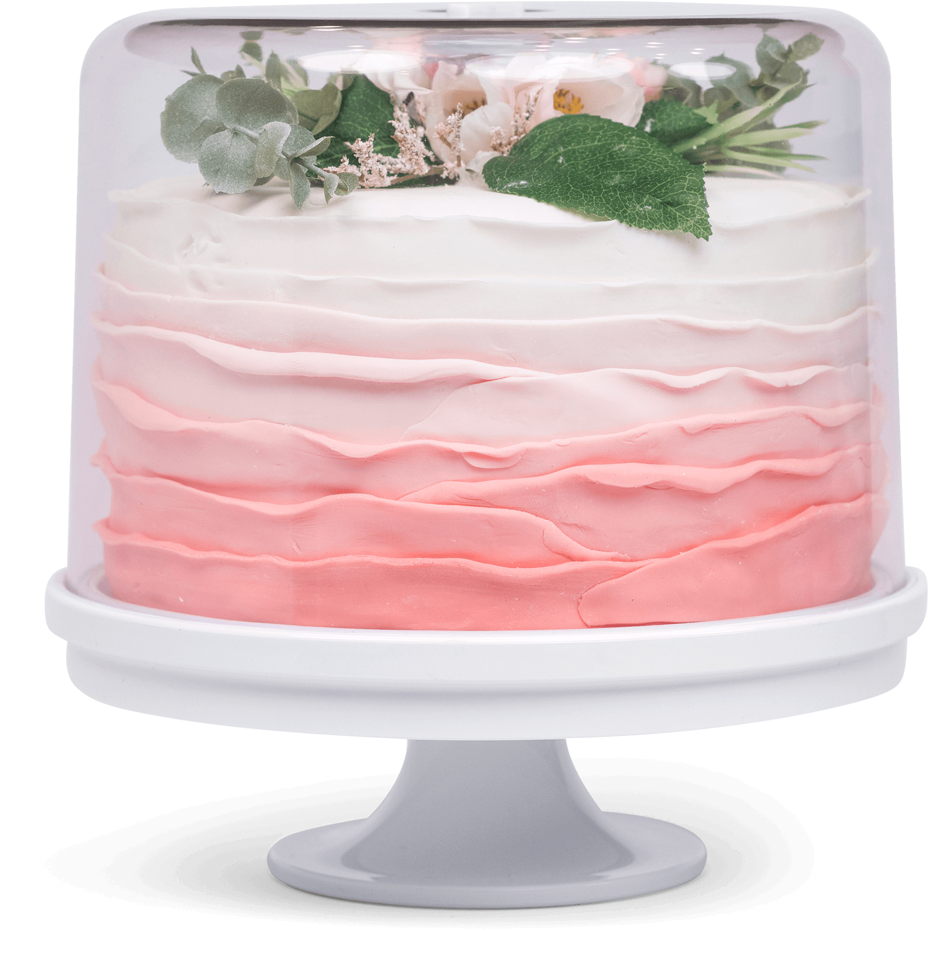 KeepCake covered on the included pedestal with a cake inside