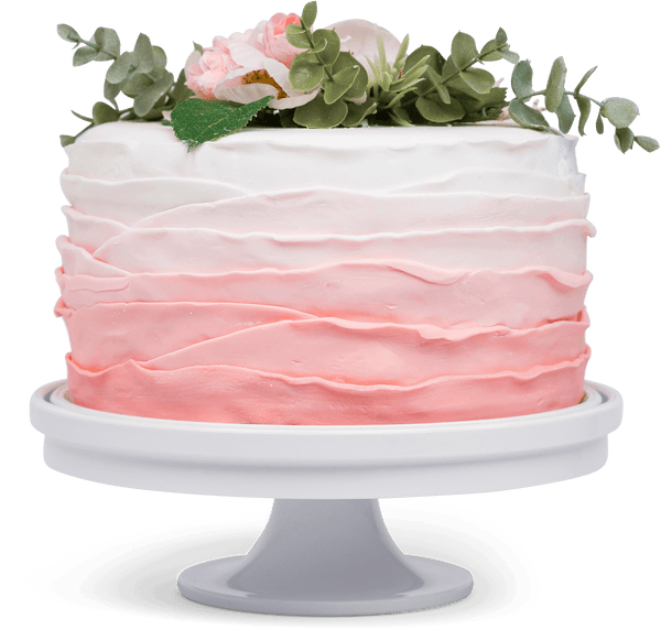 KeepCake on the included pedestal with a cake